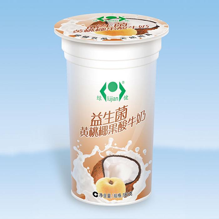 益生菌黄桃椰果酸牛奶